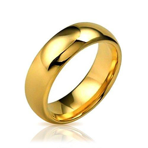 Bling Jewelry Einfache Einfache Dome Paare Ehering Ring Poliert 14K Vergoldete Tungsten Ringe Für Herren Für Damen Comfort Fit 8Mm (Gold-wolfram Herren Ehering)