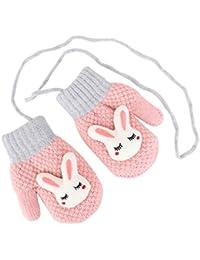 Winter Dicke Kinder Baby Jungen Pelz Handschuhe Fäustlinge Weich Halsband