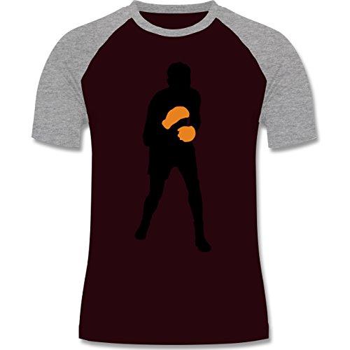 Kampfsport - Boxer - zweifarbiges Baseballshirt für Männer Burgundrot/Grau meliert