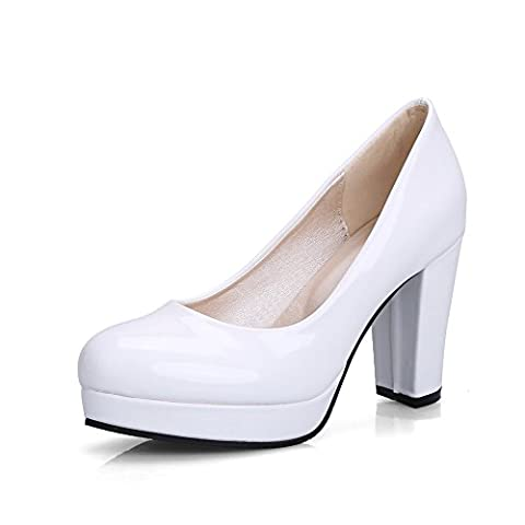 BalaMasa Womens Chunky Heels Platform Low-Cut Uppers White Patent-Leather Pumps-Shoes - 6 UK