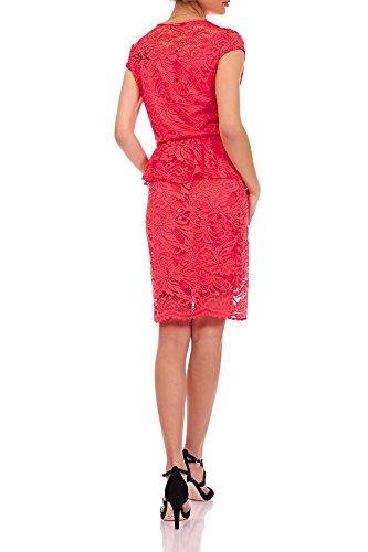 Laeticia Dreams Damen Kleid aus Spitze Kurzarm Knielang Schößchen S M L XL Koralle