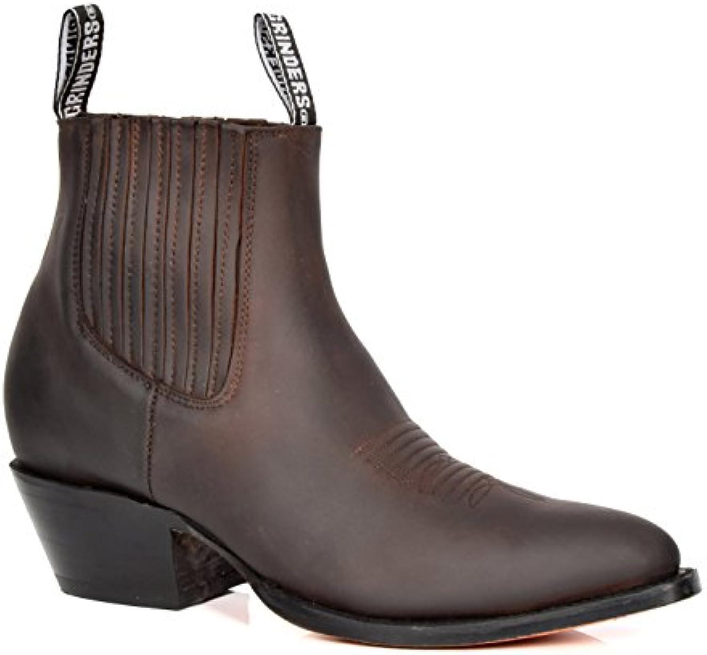 House Of Leather Botas Chelsea de Cuero Real de Estilo Vaquero Biker Ponerse Puntiagudo Zapatos 05MA-Lo Marrón