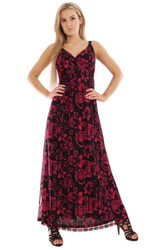 Elegantes Sommer Abendkleid Party Maxikleid Rose Pink Black EN7 Gesamtlaenge 149cm