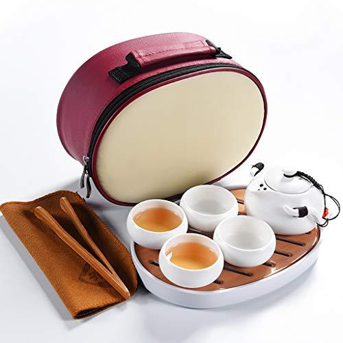 Handgefertigte tragbare Kung Fu Tee-Set, Tee-Set im chinesischen Stil, Reise-Tee-Set mit Teetasse, Teekanne, Tee-Tablett
