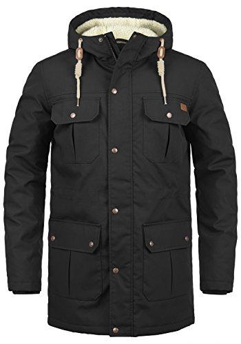 SOLID Chara Teddy Herren Parka lange Winterjacke mit Kapuze samt Teddyfutter, Größe:XL, Farbe:Black (9000)