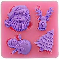 kentop navideño Tema 3d Forma de silicona Fondant Molde chocolate jalea Dulces Hornear Formas–Papá Noel, Árbol de Navidad, muñeco de nieve y alce