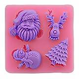 Kentop Weihnachts Thema 3D Silikon Form Fondant Kuchen Form Schokolade Gelee Süßigkeiten Backen Formen - Weihnachtsmann,Weihnachtsbaum,Schneemann und Elch