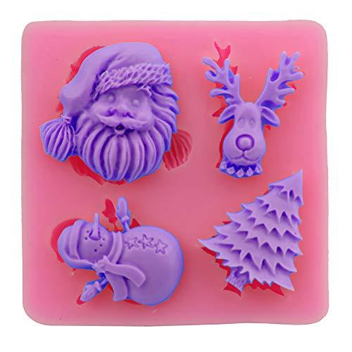 en Silikonformen 3D Weihnachtsmann Baum Schneemann Rentier Formen Kuchen Schokolade Fondant Mould DIY Backen Kuchen Dekoration Hausgemachte Handwerk Zufällige Farbe ()