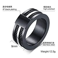 Avia Shape Black Personalized Fashion Stainless Steel Ring Mens Jewelry Rings Size US9