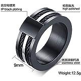 خاتم من الستانلس ستيل بتصميم شخصية سوداء من افيا خاتم رجالي مقاس US9