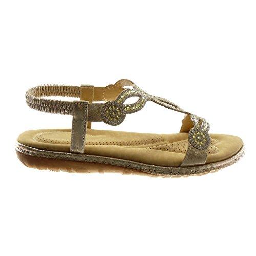 Angkorly Chaussure Mode Sandale Slip-On Salomés Lanière Cheville Femme Strass Diamant Fantaisie Finition Surpiqûres Coutures Talon Plat 3 cm Or