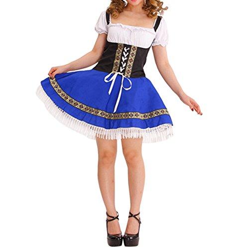 Kostüme Halloween Mädchen Gemeinsame (Bold Manner Damen Dienstmädchen Kostüm Bluse Dirndl Schürze Trachten Kleid Oktoberfest)