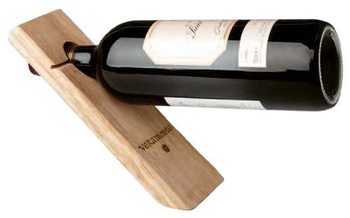 Gravity Defying Wine Bottle Stand - Wood, Single Bottle Holder by Franmara Single Wine Bottle Holder