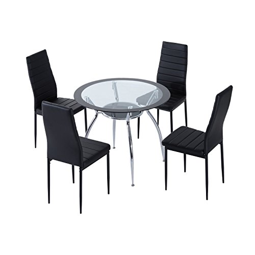 HOMCOM 5pcs Dining Room Set Table Chairs Contemporary Modern Furniture Tempered Glass (Black)
