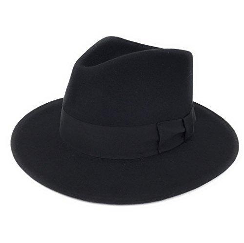 Herren Handgefertigt 100% Wollfilz Indiana Style Knautschfähig Fedora - Fedora Hut Schwarz