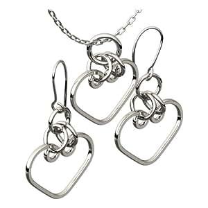 Parure de Pendentif, Chaine et Boucles d'Oreille, en Argent Sterling Plaqué, Cœur Celtique, Exprime Votre Amour Eternel