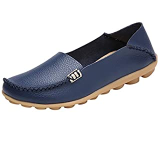 Damen Neu Casual Slipper Mokassins Basic Leder Slip-on Flatschuhe Frauen Modisch Mokassin Bootsschuhe Leder Loafers Fahren Flache Schuhe Halbschuhe Slippers Erbsenschuhe Slippers TWBB