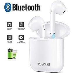 roycase Écouteurs Bluetooth sans Fil, Oreillette Bluetooth avec Station de Charge, Mini écouteurs Intra-Auriculaires à réduction de Bruit avec Microphone