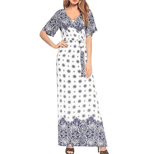 002 Frauen Sexy V-Ausschnitt Kurzarm Blumendruck Maxi Boho Kleider Sommerkleid mit Gürtel (Color : Ligth Blue, Size : One Size)