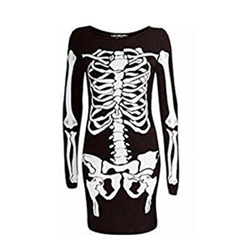 Femmes Squelette Os Robe Midi Femmes Déguisement Halloween Nuit Robe Moulante Manches Longues - Femme, Noir, S/M