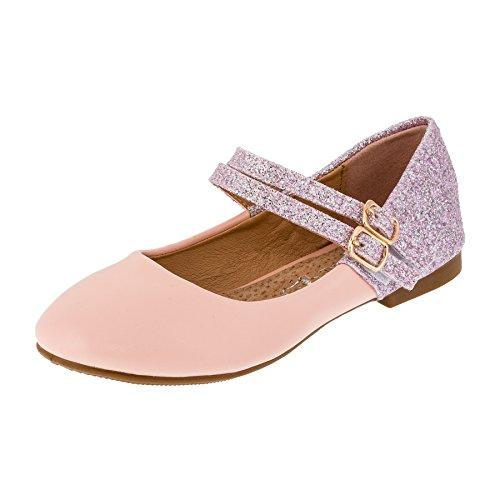 Festliche Mädchen Glitzer Ballerinas Schuhe mit Echt Leder Innensohle M408rs Rosa 25