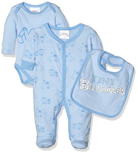 Twins Baby-Jungen Bekleidungsset Starter-Kit Bulldozer 3tlg., Blau (Hellblau 4002), 86