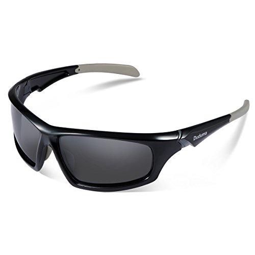 Duduma Gafas de Sol Deportivas Polarizadas Para Hombre Perfectas Para Esquiar Golf Correr Ciclismo TR821 Súper Liviana Para Hombre y Para Mujer (639 marco negro con lente negro)