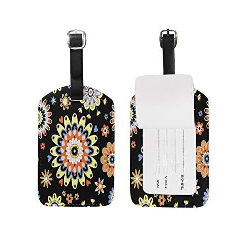 Beautiful Kaleidoscope Floral Colorful Flower Luggage Tag for Baggage Suitcase Bag Travel Label Leather 1 Piece Set - Kaleidoscope Eye Kit