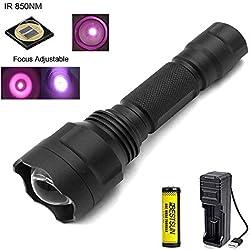 Linterna IR 850nm, Linternas de visión nocturna por infrarrojos Zoom capaz, 38mm lente- Para ser utilizado con dispositivos de visión nocturna y caza