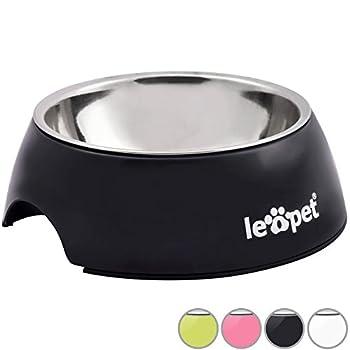 Leopet - Gamelle pour chien ou chat en acier inox - Noir - Taille M (volume 350 ml) - 1 pièce - TAILLE, COLORIS ET QUANTITÉ AU CHOIX