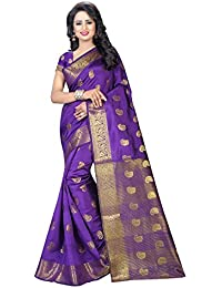 The Shopoholic Women's Cotton Silk Saree (VARKALA PURPLE_PURPLE)