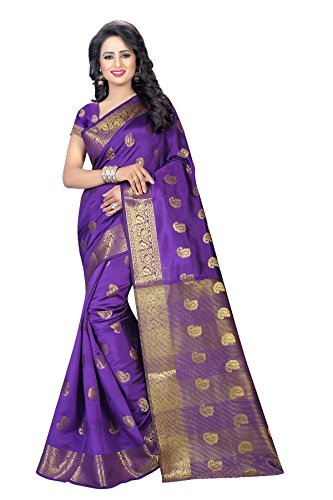 INDIAN BEAUTIFUL WOMEN'S ETHNIC WEAR PURPLE COLOUR SAREE WITH BLOUSE PIECE