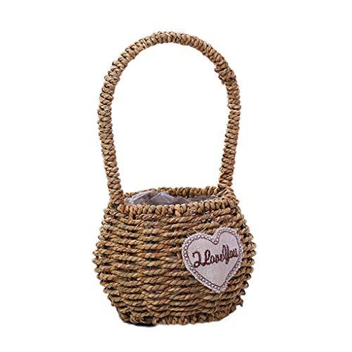 Floridivy Stroh-Woven Wire Mesh Weben Blumen Korb Obst Geflochtene Storage Basket Startseite Dekotopf Griff -