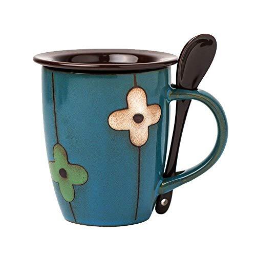 Verdental Retro Keramik Trommelform Kaffeetasse mit Deckel und Löffel Teetasse Tasse Geschenk-Box, keramik, Drum Shaped Mug Blue, 430 g -