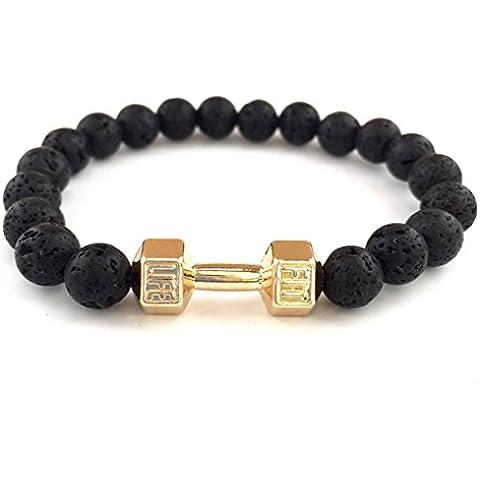 GOOD.designs fitness-pulsera de perlas, pesa de gimnasia-colgante de joyería, Piedra de lava perlas, crossfit brazalete de hombre
