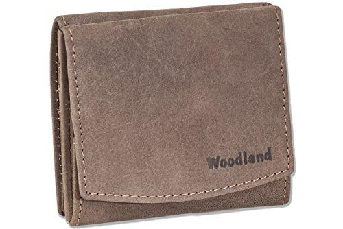 Woodland® Kleine Geldbörse mit großem Hartgeldfach (Wiener Schachtel) aus naturbelassenem, weichem Büffelleder in Dunkelbraun/Taupe, Dunkelbraun