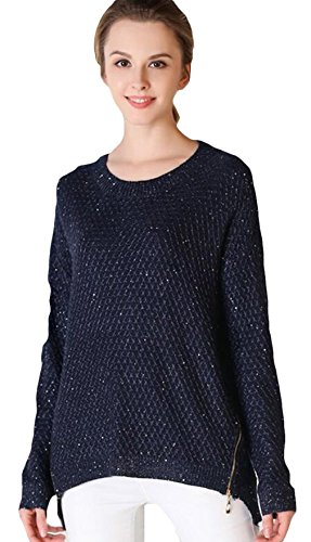 La Vogue Sweater Sweat-Shirt Tricot Pull-Over Manche Longue Femme Col Rond Bleu