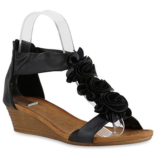 Damen Keilabsatz Sandalen | Riemchensandalen Strass | Sandaletten Wedges Glitzer | Blumen Metallic Flats | Sommerschuhe Schwarz Cabanas