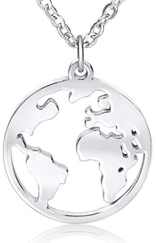 Ansané | Neu - Weltkugel Kette - in Silber, Rose, Gold | 45cm + 5cm (extra) | hochwertige Schmuckschachtel