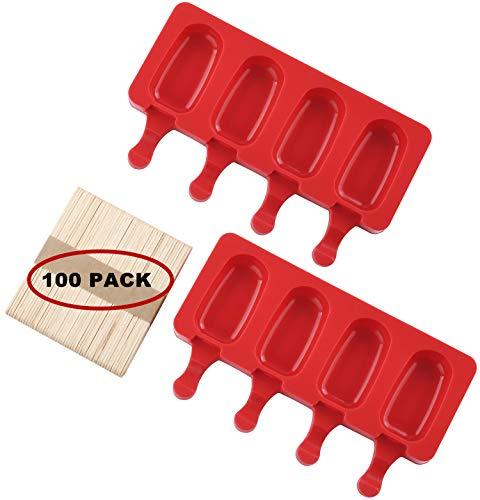 Mirenlife 4 Mulden Mini Silikon Ice Pop Formen hausgemachte Eiscreme Bar Form Popsicle Formen DIY Eismaschine mit 100 Holzstäbchen, Set von 2 (oval)