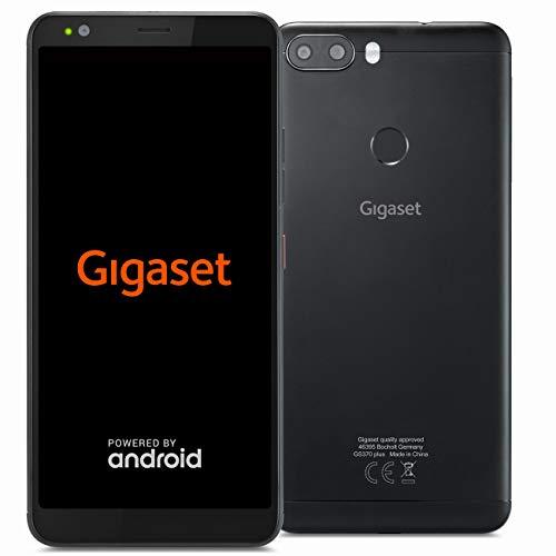 Gigaset Smartphone GS370 plus – mit 5,7 Zoll HD+ Display, 13+8 MP Dual-Kamera, Octa-Core Prozessor, Fingerabdrucksensor, 3000mAh Akku, Android; schwarz