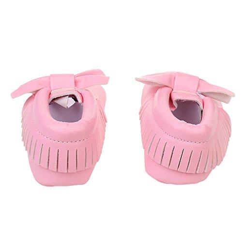 Bébé Enfants Chaussures Premiers Pas avec Bowknot Mocassin en Cuir Doux Crèche - Argent, 12cm Rose