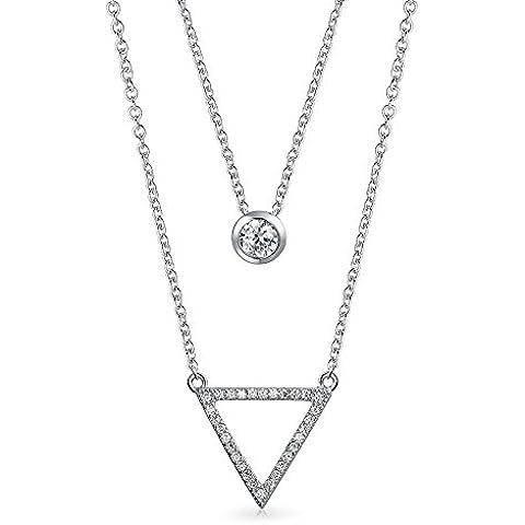 Bling Jewelry CZ Cornice Cerchio triangolo aperto a più livelli Set Collana Argento 925