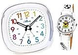 Atlanta Kinderwecker ohne Ticken Mädchen Jungen Weiß + Armbanduhr - 1736-0 KAU ws