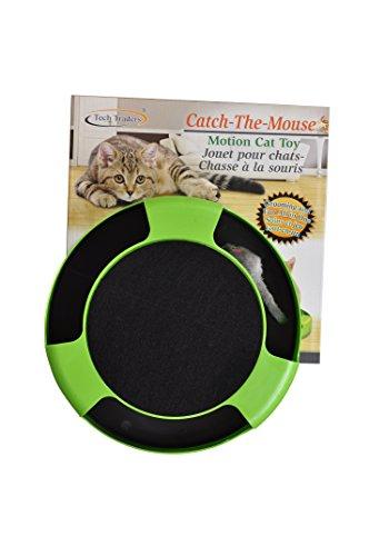 """Tech Traders®, bewegliches Katzenspielzeug """"Fang die Maus"""" aus Plüsch mit Kratzmatte für die Krallenpflege - 2"""