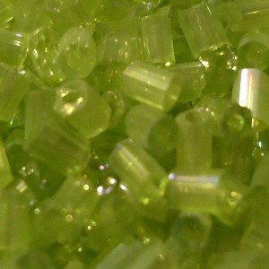 50g / 1000 beads+ / 2x2mm Rainbow Tube Seed Beads - Lime Green - A4622 / 50g