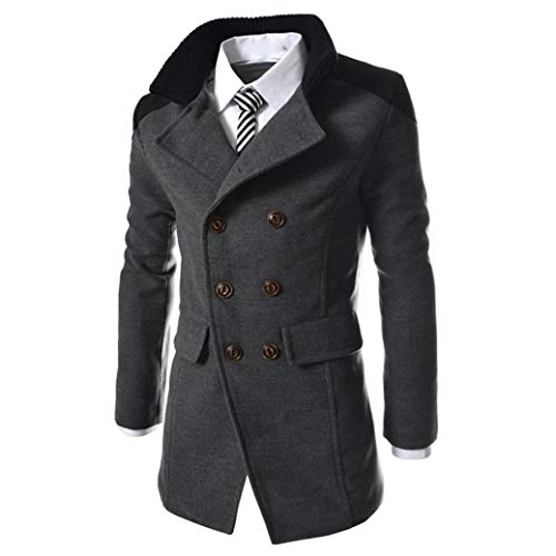 Manadlian Männer Jacke Warmer Winter Graben Lange Outwear Schaltfläche Smart Mantel