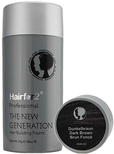 Hairfor2 Streuhaar/Hair Fibres dunkelbraun, 1er Pack (1 x 25 g)