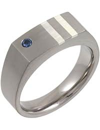Theia Titanium and Silver Inlay Blue Sapphire Matt 7 mm Signet Ring