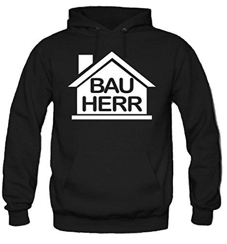 Bauherr Kapuzenpullover | Handwerker | Party | Männer | Herren | Hausmeister | Werkzeug | Fasching | Kostüm | Funshirt | Geschenk (L, Schwarz) (Mann Bauarbeiter Kostüm)